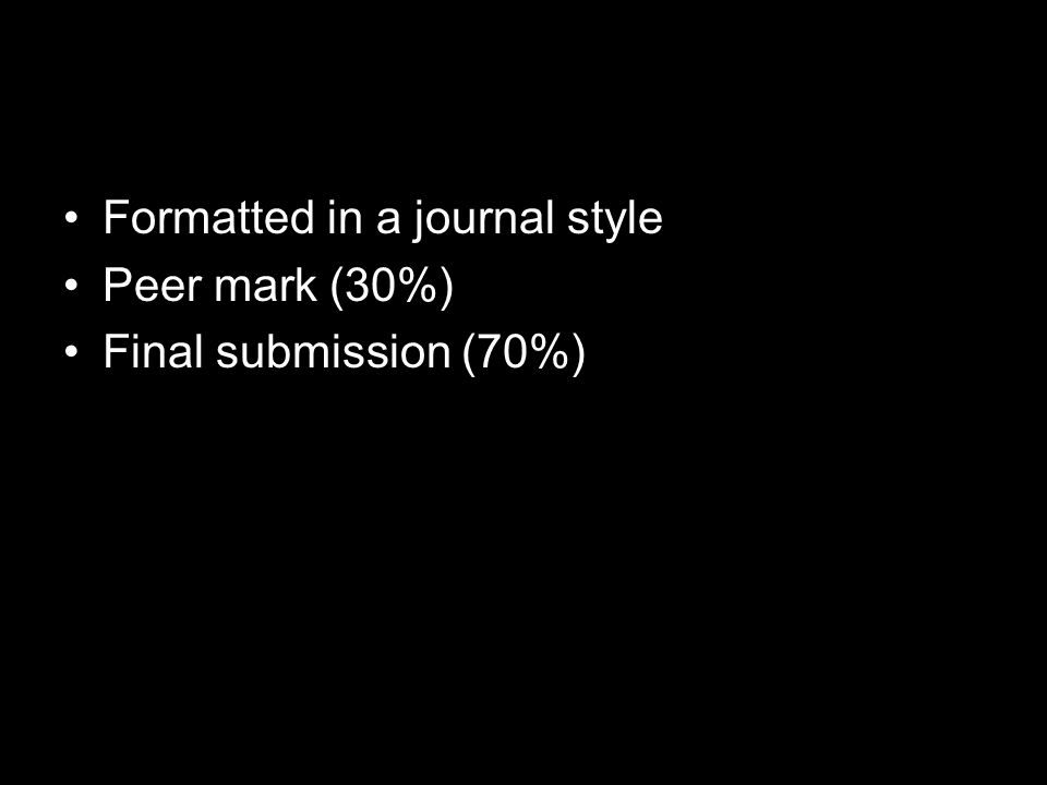 Formatted in a journal style Peer mark (30%) Final submission (70%)