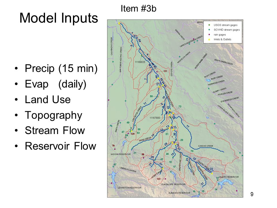 9 Model Inputs Precip (15 min) Evap (daily) Land Use Topography Stream Flow Reservoir Flow Item #3b