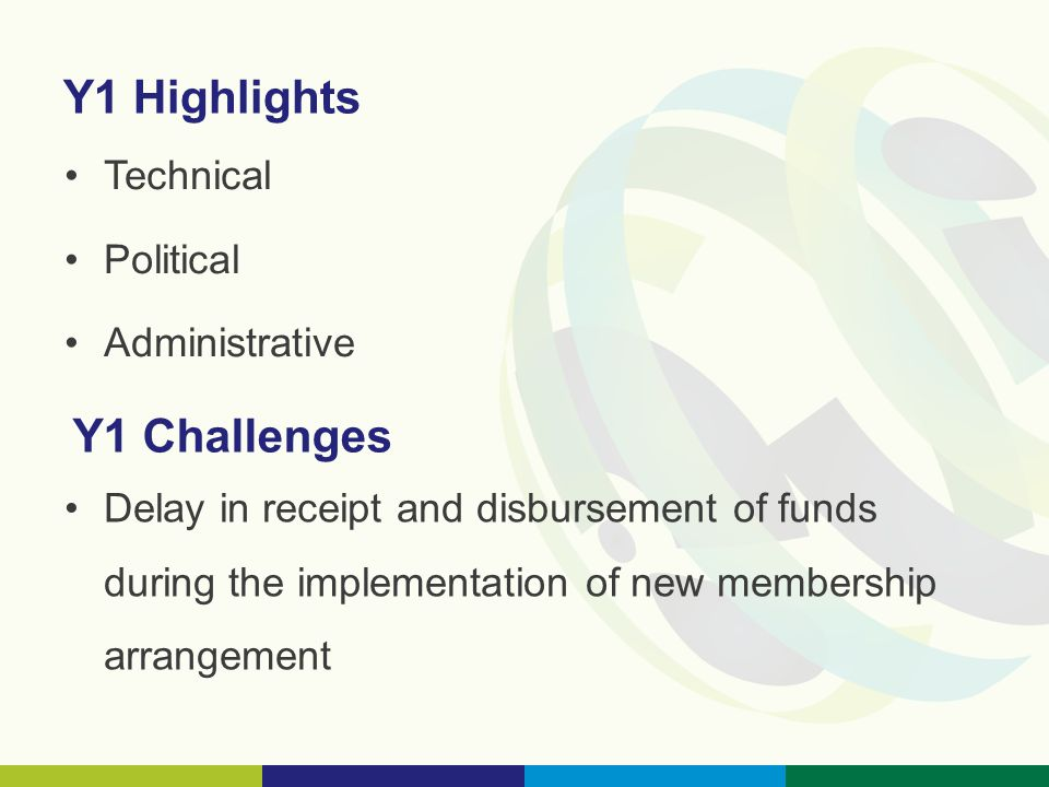 Y1 Highlights Technical Political Administrative Y1 Challenges Delay in receipt and disbursement of funds during the implementation of new membership arrangement