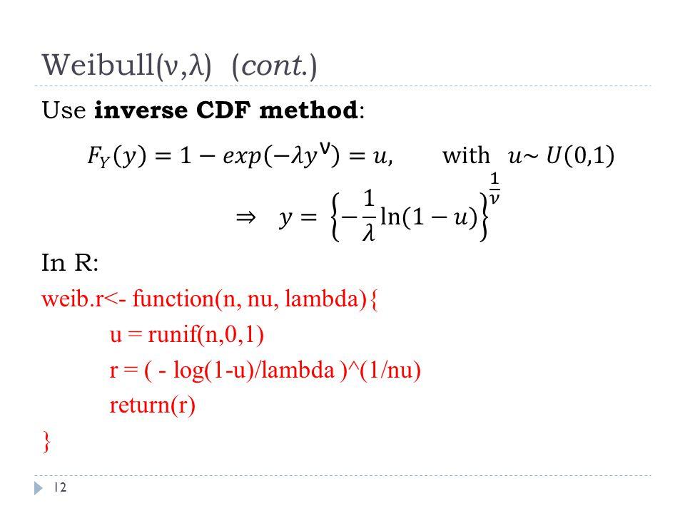 Weibull( ν, λ ) ( cont.) 12