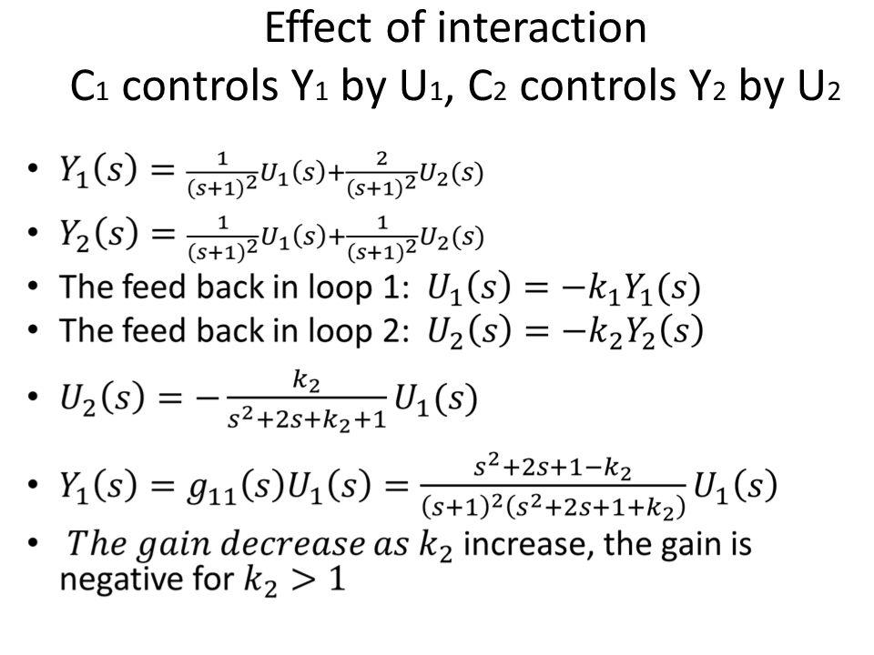 Effect of interaction C 1 controls Y 1 by U 1, C 2 controls Y 2 by U 2