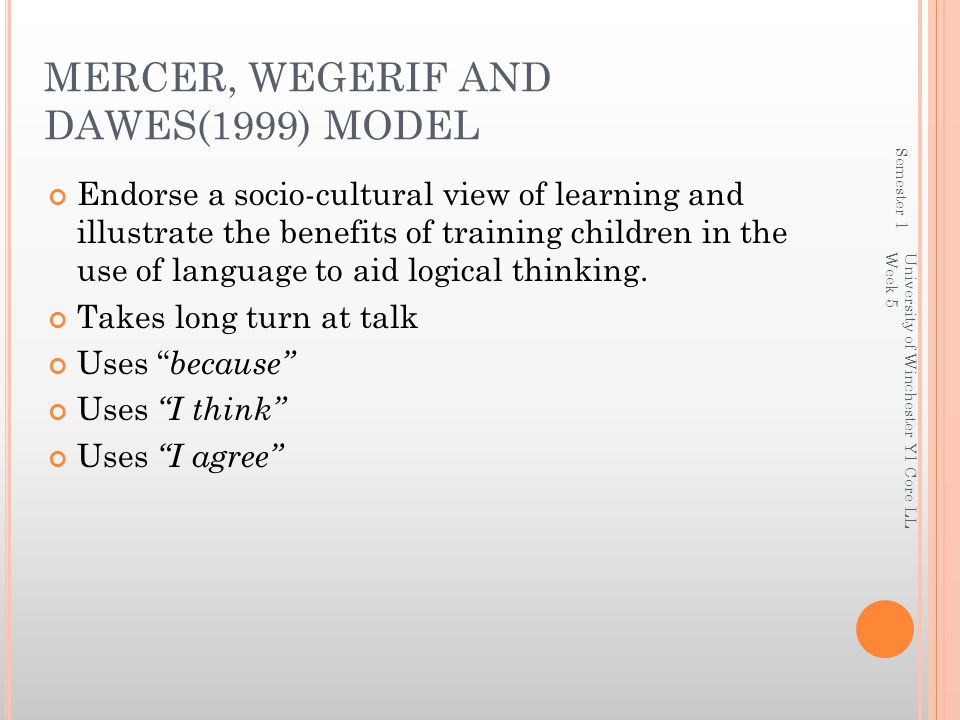 Semester 1 University of Winchester Y1 Core LL Week 5 MERCER, WEGERIF AND DAWES(1999) MODEL Endorse a socio-cultural view of learning and illustrate the benefits of training children in the use of language to aid logical thinking.