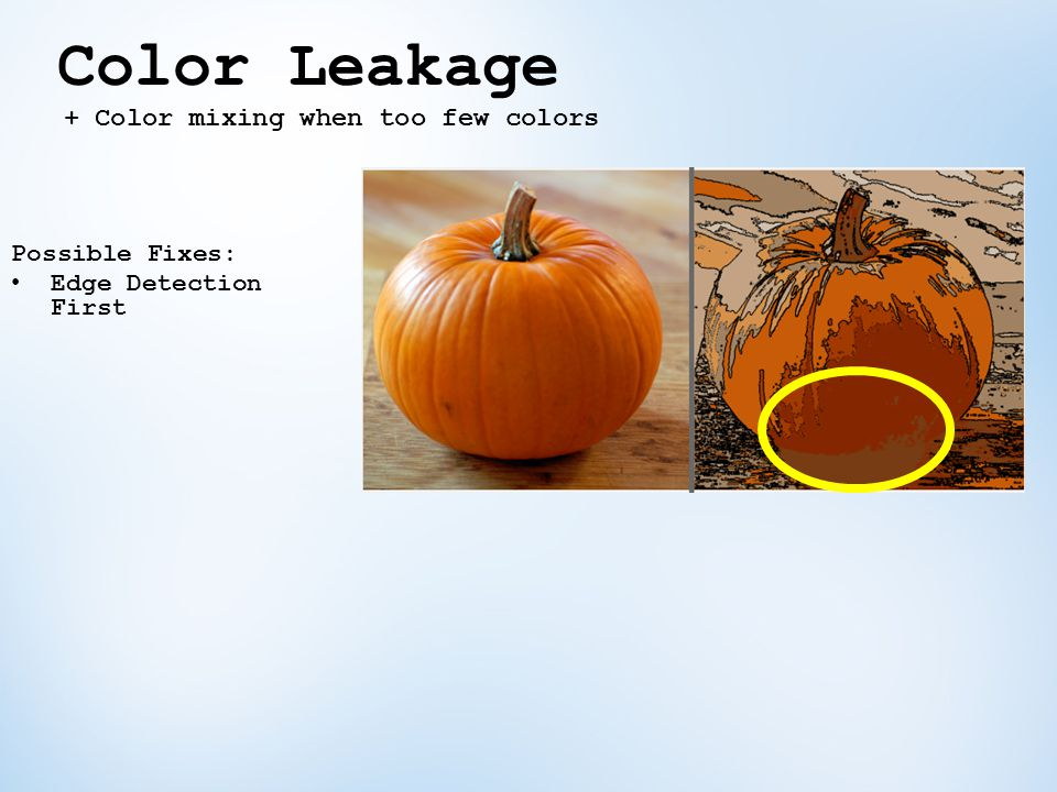 Color Leakage Possible Fixes: Edge Detection First + Color mixing when too few colors