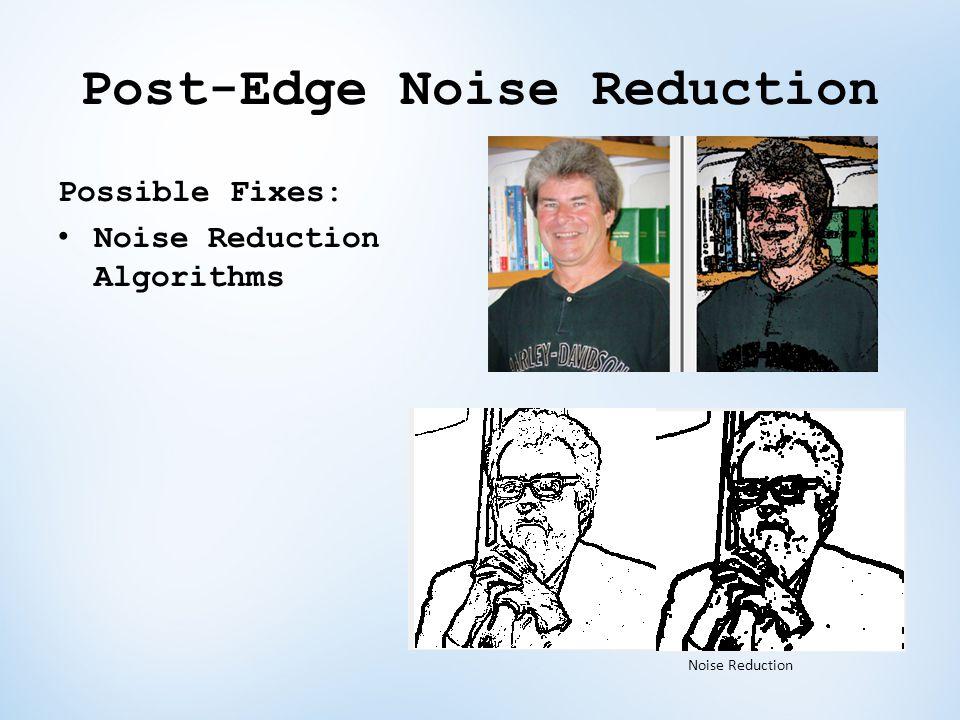 Post-Edge Noise Reduction Possible Fixes: Noise Reduction Algorithms Noise Reduction