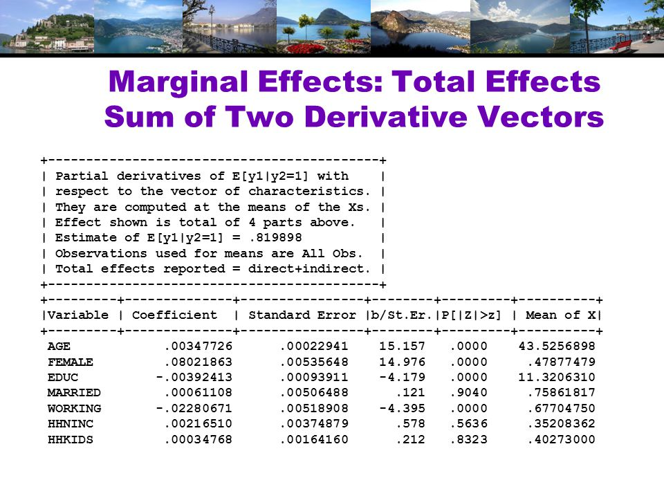 Marginal Effects: Total Effects Sum of Two Derivative Vectors +-------------------------------------------+ | Partial derivatives of E[y1|y2=1] with | | respect to the vector of characteristics.