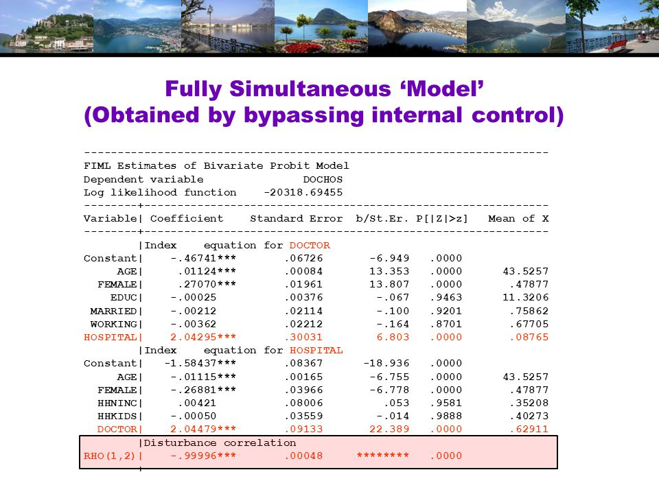 Fully Simultaneous 'Model' (Obtained by bypassing internal control) ---------------------------------------------------------------------- FIML Estimates of Bivariate Probit Model Dependent variable DOCHOS Log likelihood function -20318.69455 --------+------------------------------------------------------------- Variable| Coefficient Standard Error b/St.Er.