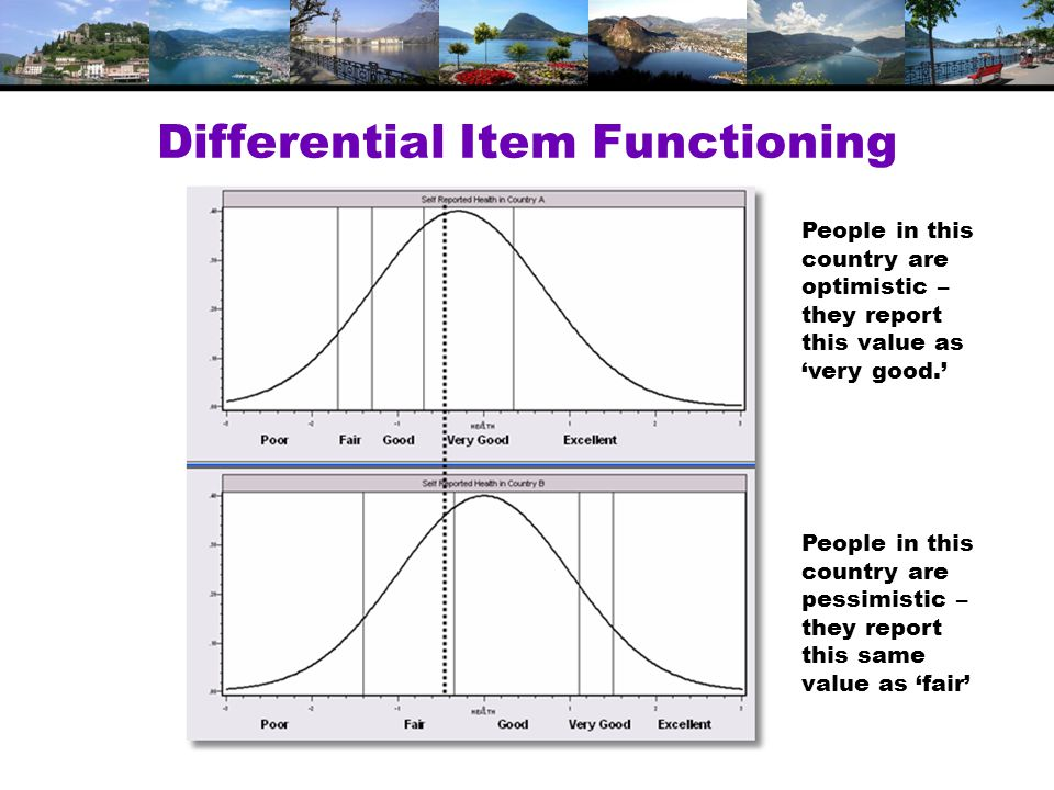 Differential Item Functioning People in this country are optimistic – they report this value as 'very good.' People in this country are pessimistic – they report this same value as 'fair'