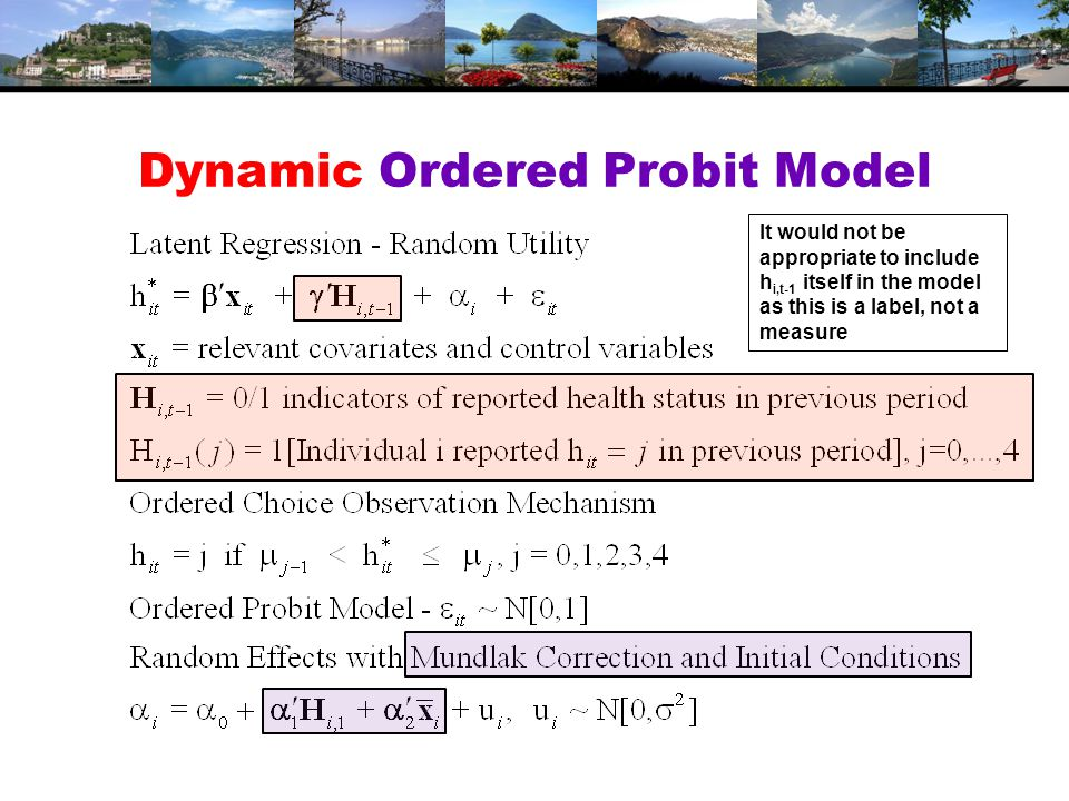 Dynamic Ordered Probit Model It would not be appropriate to include h i,t-1 itself in the model as this is a label, not a measure