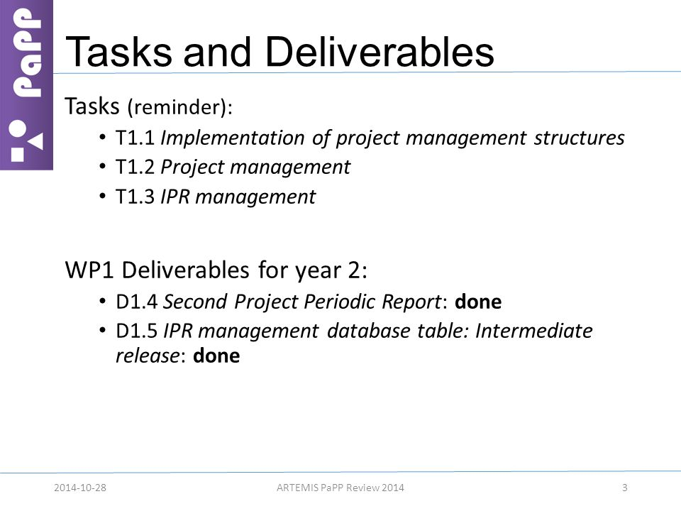 Tasks and Deliverables Tasks (reminder): T1.1 Implementation of project management structures T1.2 Project management T1.3 IPR management WP1 Delivera