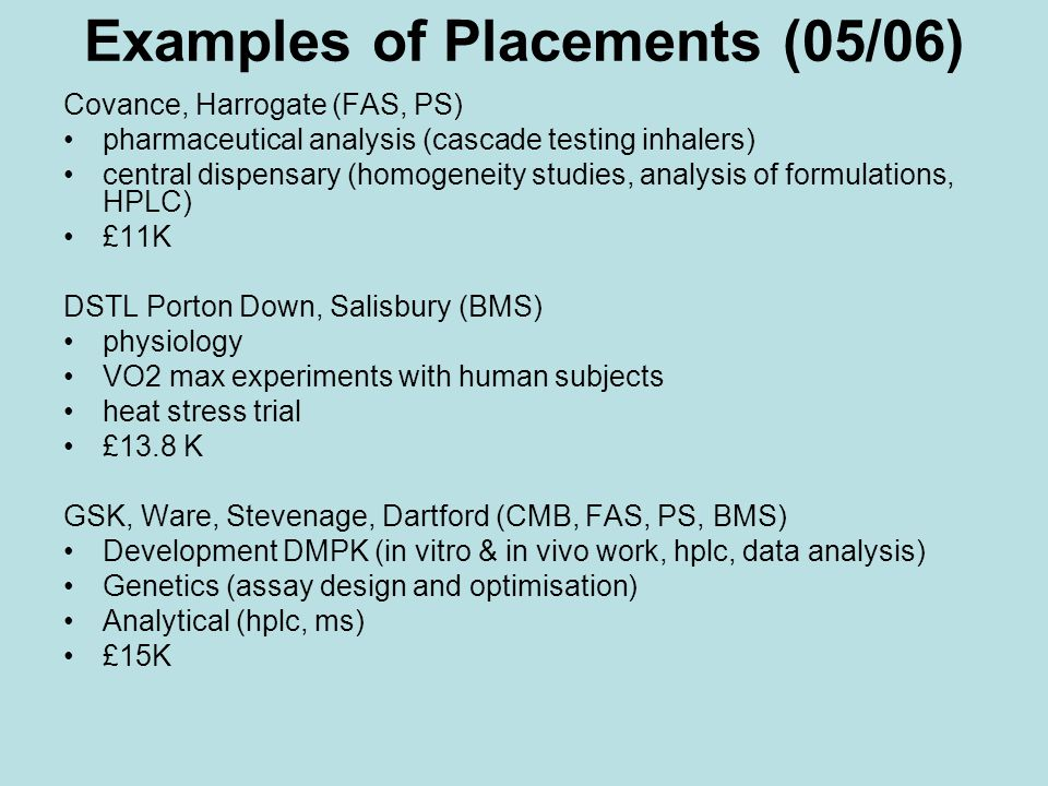 Examples of Placements (05/06) Covance, Harrogate (FAS, PS) pharmaceutical analysis (cascade testing inhalers) central dispensary (homogeneity studies, analysis of formulations, HPLC) £11K DSTL Porton Down, Salisbury (BMS) physiology VO2 max experiments with human subjects heat stress trial £13.8 K GSK, Ware, Stevenage, Dartford (CMB, FAS, PS, BMS) Development DMPK (in vitro & in vivo work, hplc, data analysis) Genetics (assay design and optimisation) Analytical (hplc, ms) £15K