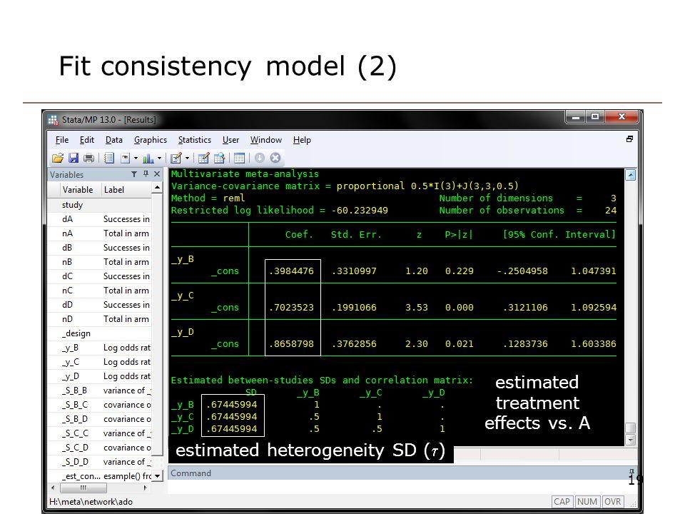 Fit consistency model (2) 19 estimated heterogeneity SD () estimated treatment effects vs. A