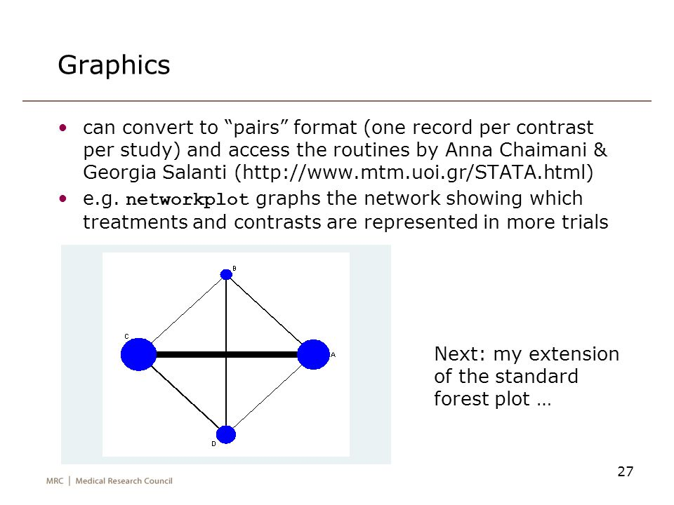 """Graphics can convert to """"pairs"""" format (one record per contrast per study) and access the routines by Anna Chaimani & Georgia Salanti (http://www.mtm."""