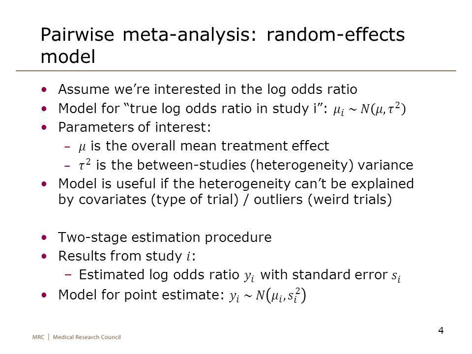 Pairwise meta-analysis: random-effects model 4