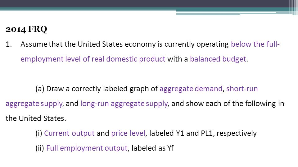 2014 FRQ 1.Assume that the United States economy is currently operating below the full- employment level of real domestic product with a balanced budget.