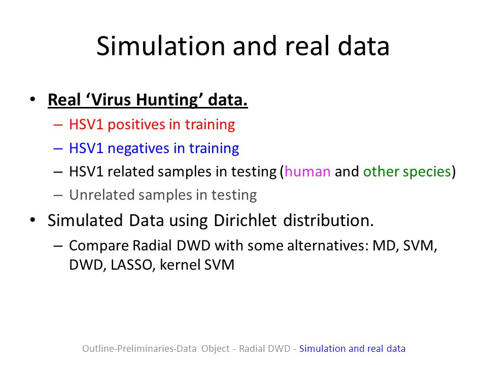 Simulation and real data Real 'Virus Hunting' data.
