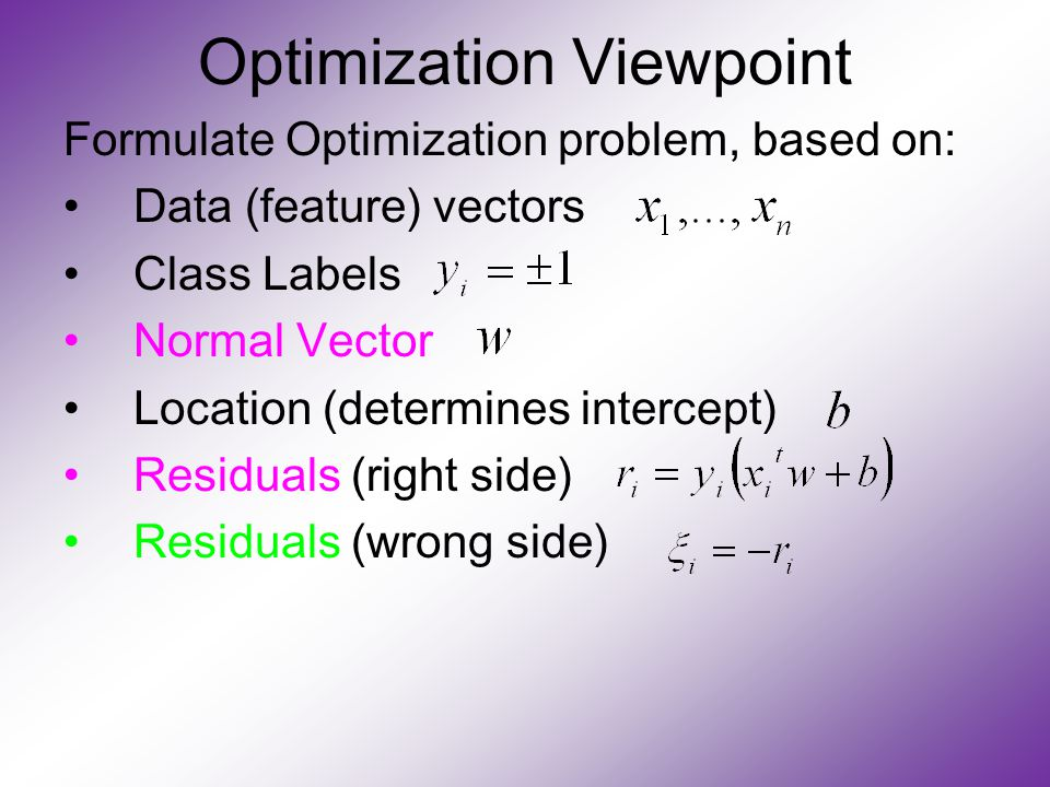 Optimization Viewpoint Formulate Optimization problem, based on: Data (feature) vectors Class Labels Normal Vector Location (determines intercept) Residuals (right side) Residuals (wrong side)