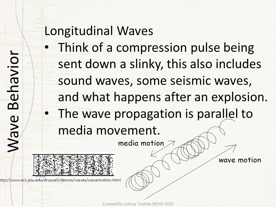 Wave Behavior Created by Joshua Toebbe NOHS 2015 Longitudinal Waves Think of a compression pulse being sent down a slinky, this also includes sound waves, some seismic waves, and what happens after an explosion.