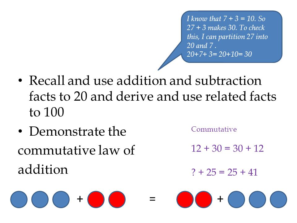 Recall and use addition and subtraction facts to 20 and derive and use related facts to 100 Demonstrate the commutative law of addition I know that 7