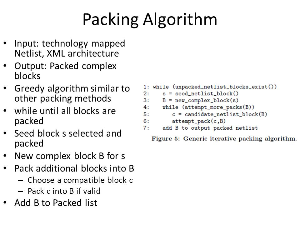 Packing Algorithm Input: technology mapped Netlist, XML architecture Output: Packed complex blocks Greedy algorithm similar to other packing methods w