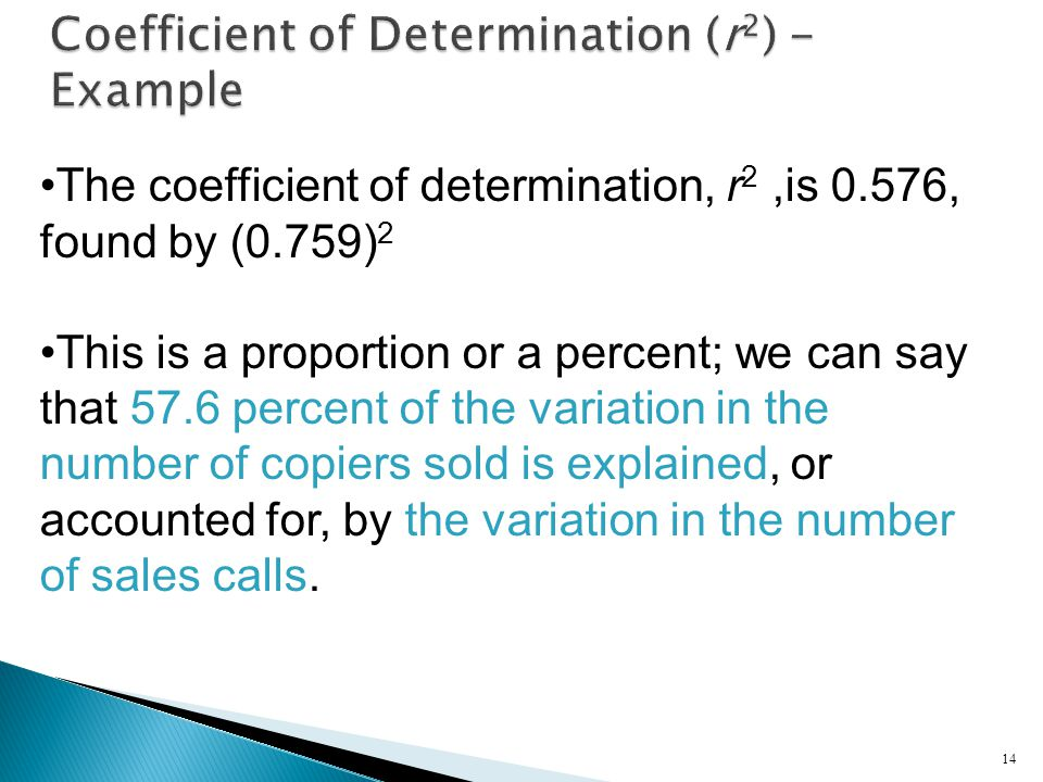 14 The coefficient of determination, r 2,is 0.576, found by (0.759) 2 This is a proportion or a percent; we can say that 57.6 percent of the variation