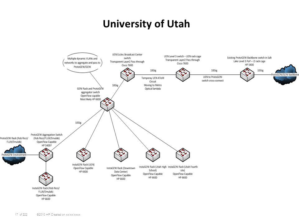 17 ©2010 HP Created on xx/xx/xxxxof 222 University of Utah