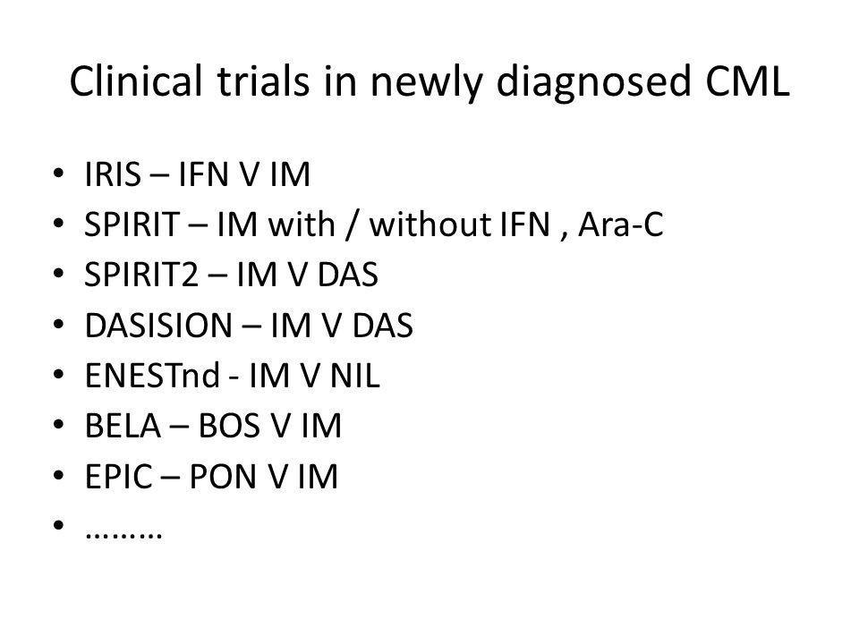 Clinical trials in newly diagnosed CML IRIS – IFN V IM SPIRIT – IM with / without IFN, Ara-C SPIRIT2 – IM V DAS DASISION – IM V DAS ENESTnd - IM V NIL