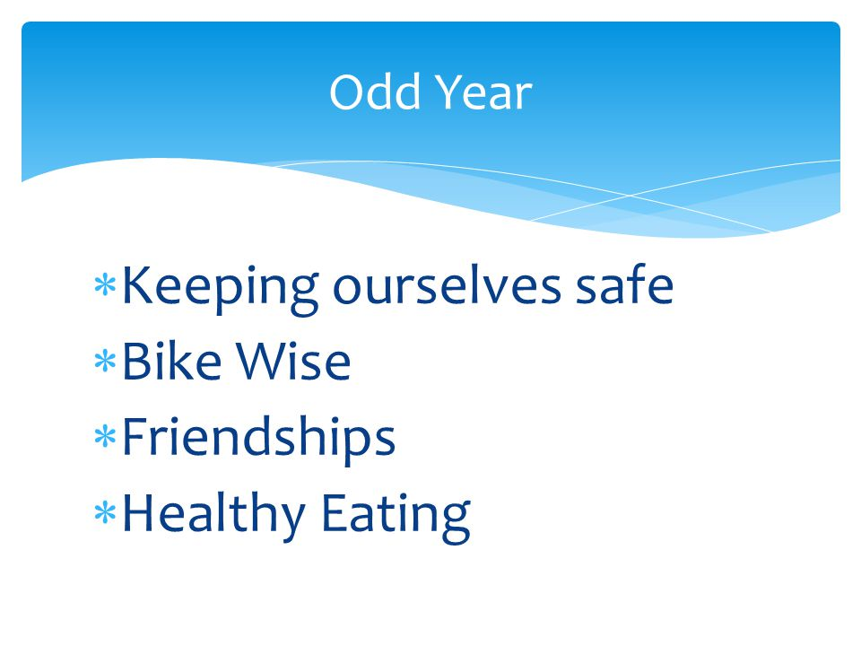  Keeping ourselves safe  Bike Wise  Friendships  Healthy Eating Odd Year
