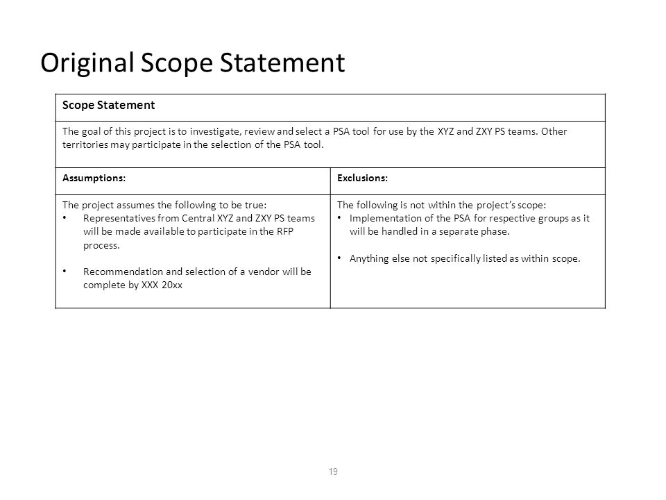 19 Original Scope Statement Scope Statement The goal of this project is to investigate, review and select a PSA tool for use by the XYZ and ZXY PS teams.