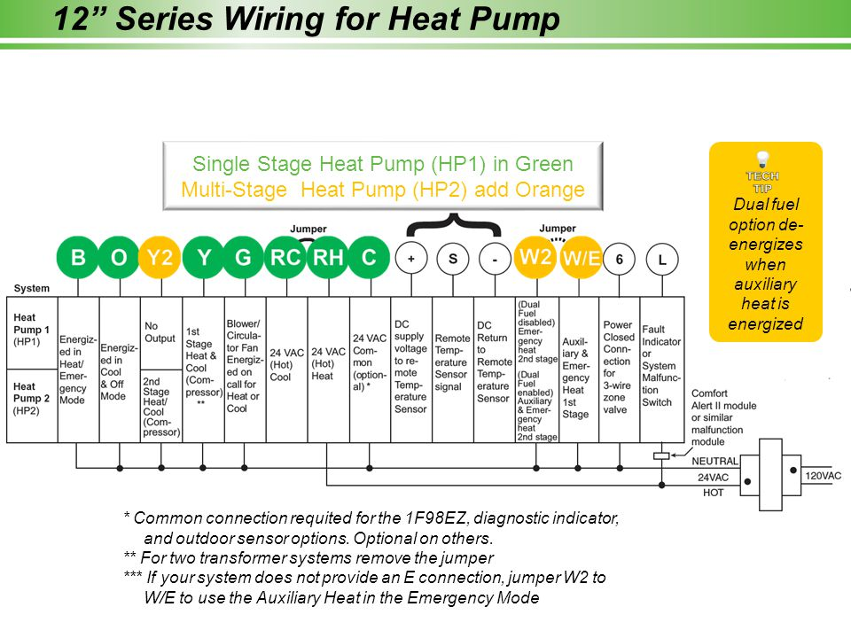 """12"""" Series Wiring for Heat Pump * Common connection requited for the 1F98EZ, diagnostic indicator, and outdoor sensor options. Optional on others. **"""