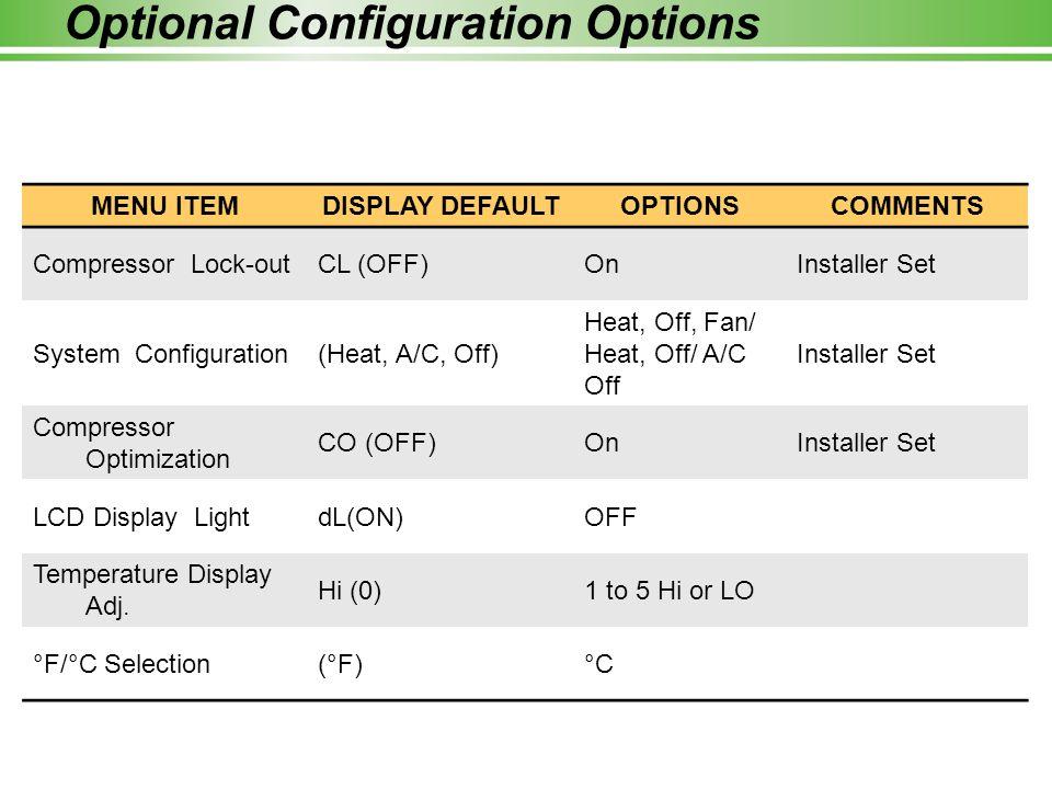 Optional Configuration Options MENU ITEMDISPLAY DEFAULTOPTIONSCOMMENTS Compressor Lock-outCL (OFF)OnInstaller Set System Configuration(Heat, A/C, Off)