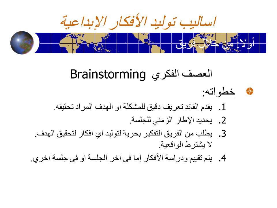 اساليب توليد الأفكار الإبداعية العصف الفكري Brainstorming خطواته : 1. يقدم القائد تعريف دقيق للمشكلة او الهدف المراد تحقيقه. 2. يحديد الإطار الزمني لل