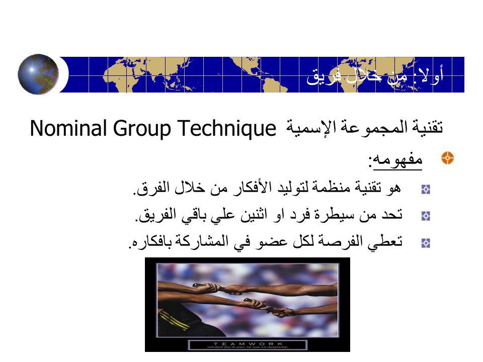 تقنية المجموعة الإسمية Nominal Group Technique مفهومه : هو تقنية منظمة لتوليد الأفكار من خلال الفرق. تحد من سيطرة فرد او اثنين علي باقي الفريق. تعطي ا