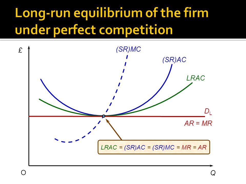 £ Q O (SR)AC (SR)MC LRAC AR = MR DLDL LRAC = (SR)AC = (SR)MC = MR = AR