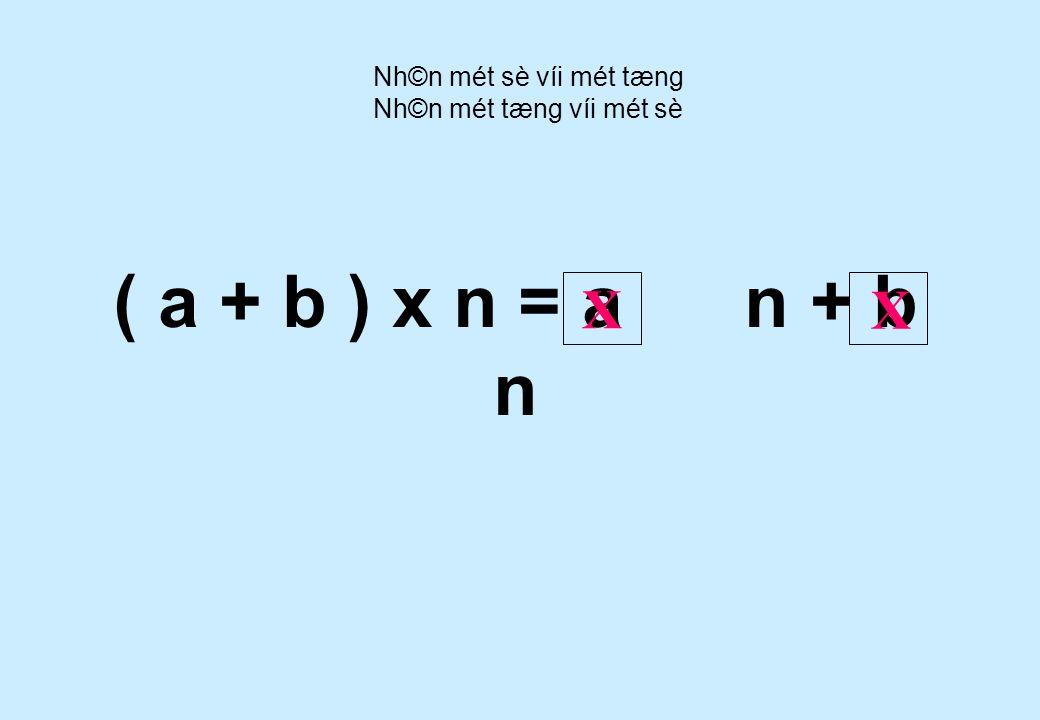 ( 6 + 9 ) x 5 = 6 x 5 9 x 5 + Nh©n mét sè víi mét tæng Nh©n mét tæng víi mét sè