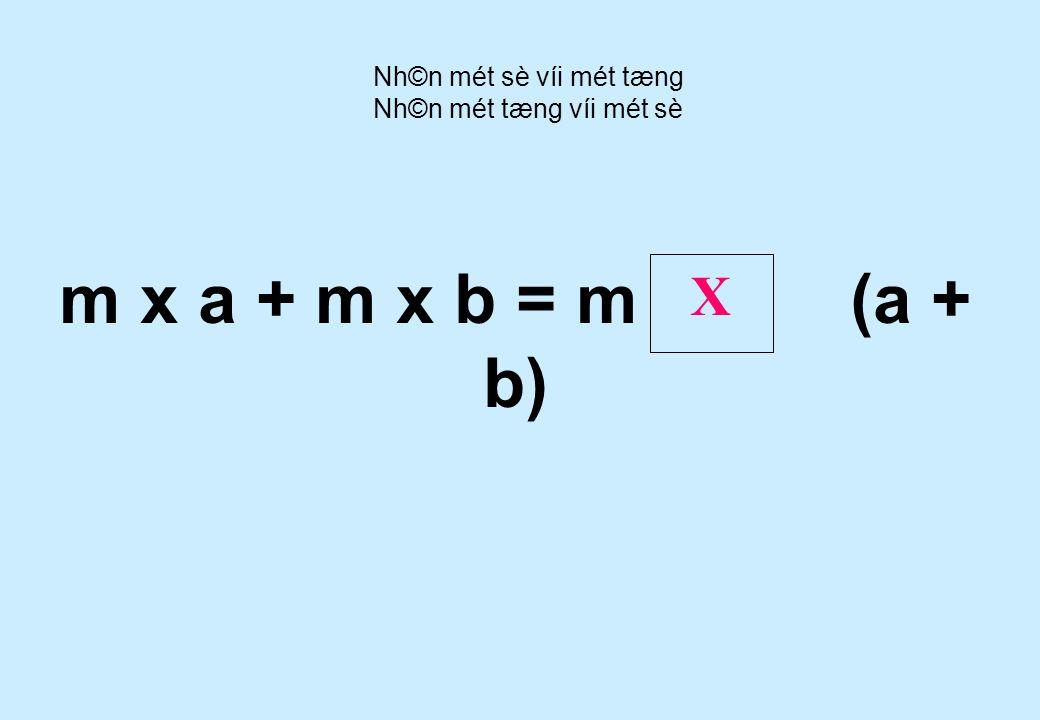 ( a + b ) x n = a n + b n X X Nh©n mét sè víi mét tæng Nh©n mét tæng víi mét sè