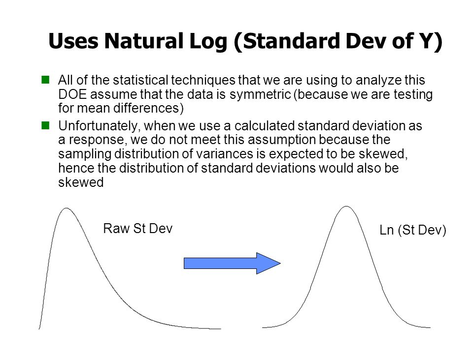 Uses Natural Log (Standard Dev of Y) All of the statistical techniques that we are using to analyze this DOE assume that the data is symmetric (becaus