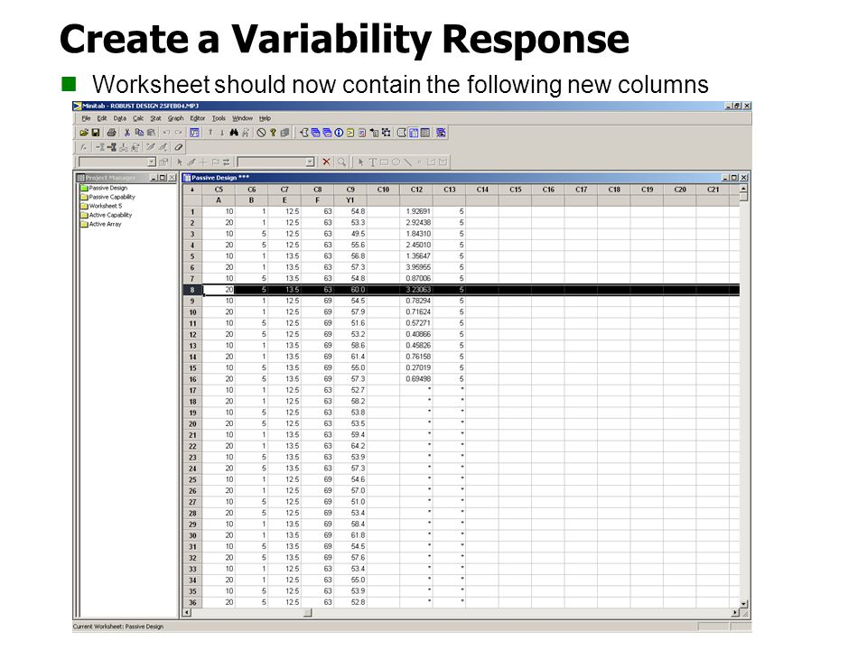 Create a Variability Response Worksheet should now contain the following new columns
