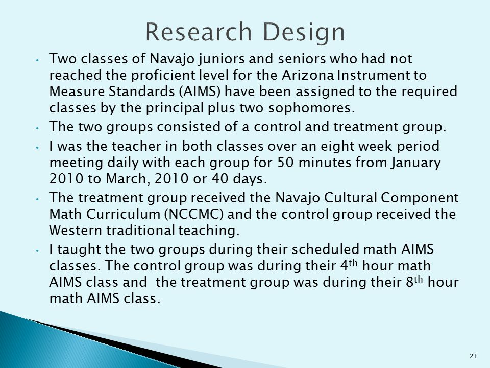 Two classes of Navajo juniors and seniors who had not reached the proficient level for the Arizona Instrument to Measure Standards (AIMS) have been as