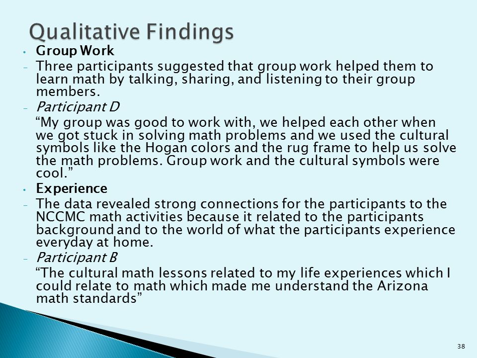 Group Work - Three participants suggested that group work helped them to learn math by talking, sharing, and listening to their group members. - Parti