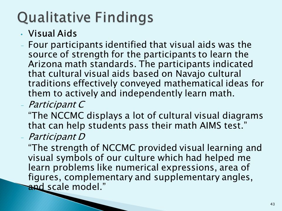 Visual Aids - Four participants identified that visual aids was the source of strength for the participants to learn the Arizona math standards. The p