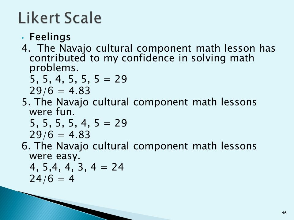 Feelings 4. The Navajo cultural component math lesson has contributed to my confidence in solving math problems. 5, 5, 4, 5, 5, 5 = 29 29/6 = 4.83 5.