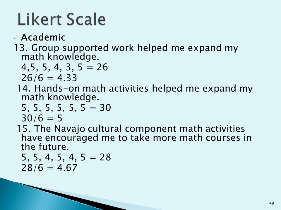 Academic 13. Group supported work helped me expand my math knowledge. 4,5, 5, 4, 3, 5 = 26 26/6 = 4.33 14. Hands-on math activities helped me expand m