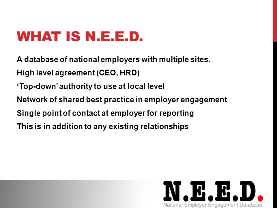 WHAT IS N.E.E.D.A database of national employers with multiple sites.