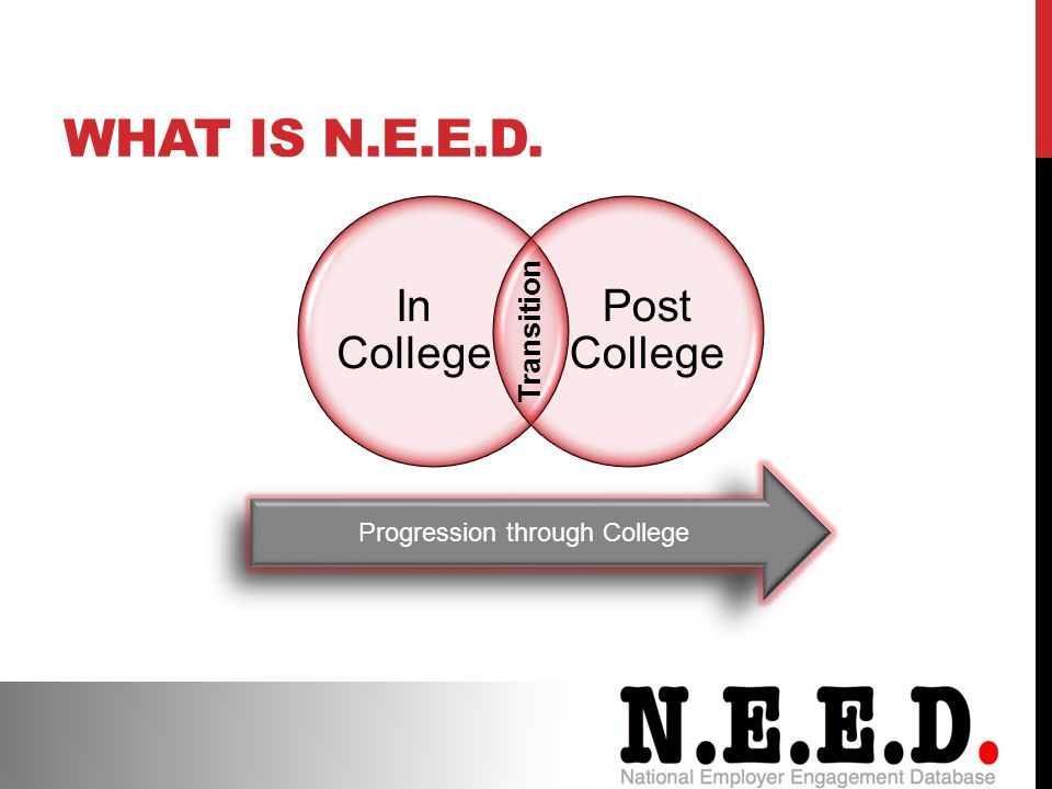 In College Post College Transition Progression through College WHAT IS N.E.E.D.
