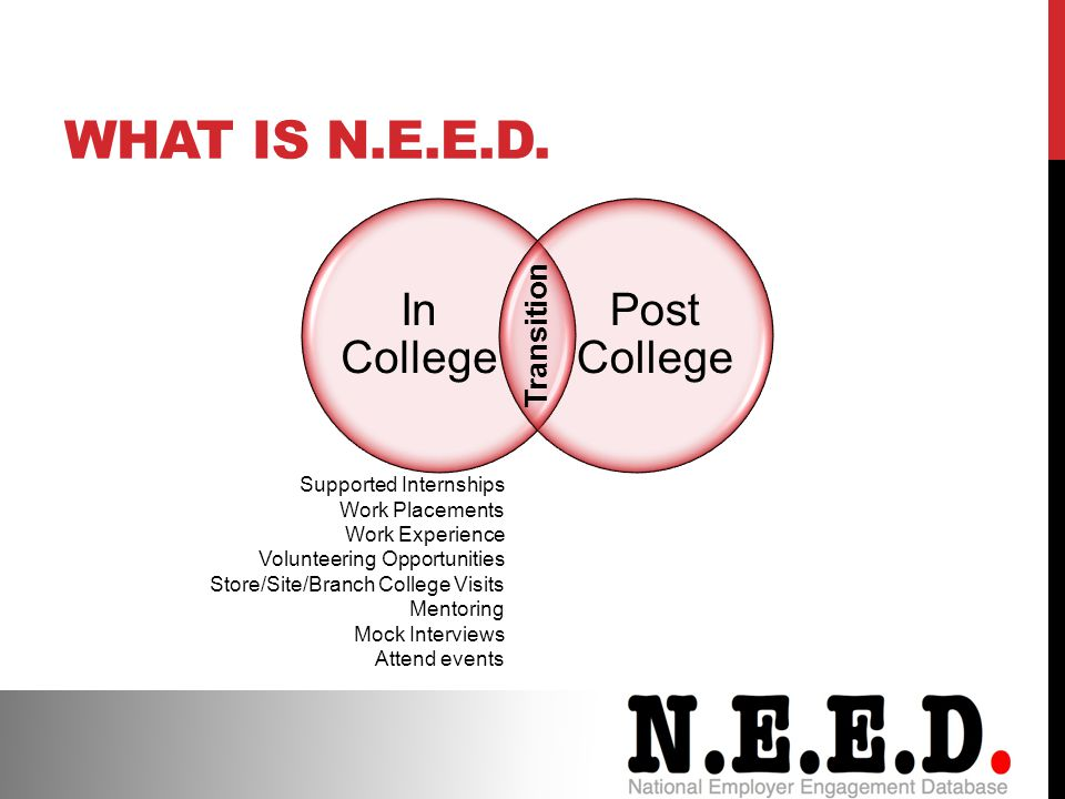 In College Post College Transition Supported Internships Work Placements Work Experience Volunteering Opportunities Store/Site/Branch College Visits Mentoring Mock Interviews Attend events WHAT IS N.E.E.D.
