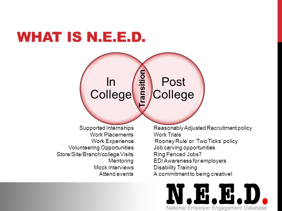 In College Post College Transition Supported Internships Work Placements Work Experience Volunteering Opportunities Store/Site/Branch/college Visits Mentoring Mock Interviews Attend events Reasonably Adjusted Recruitment policy Work Trials 'Rooney Rule' or 'Two Ticks' policy Job carving opportunities Ring Fenced Jobs.
