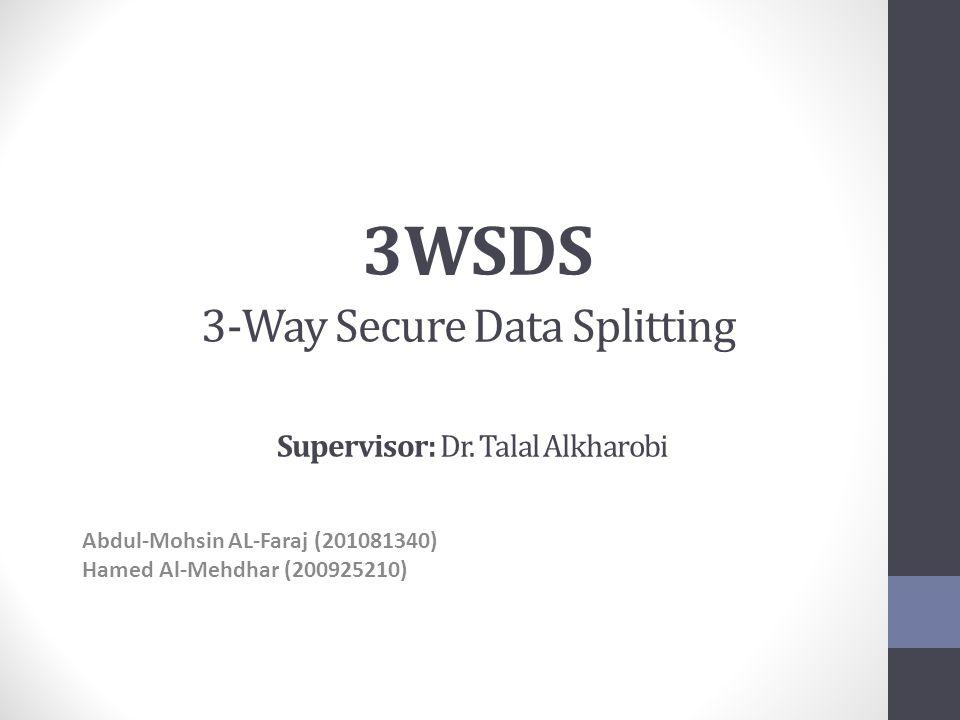 3WSDS 3-Way Secure Data Splitting Supervisor: Dr.