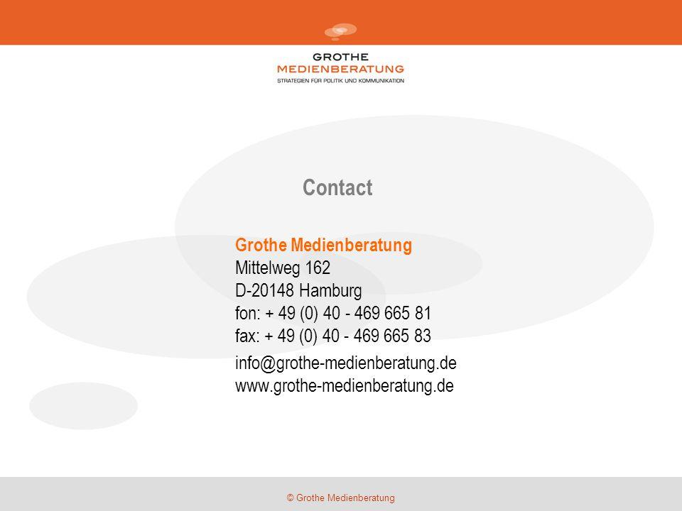 © Grothe Medienberatung Contact Grothe Medienberatung Mittelweg 162 D-20148 Hamburg fon: + 49 (0) 40 - 469 665 81 fax: + 49 (0) 40 - 469 665 83 info@grothe-medienberatung.de www.grothe-medienberatung.de