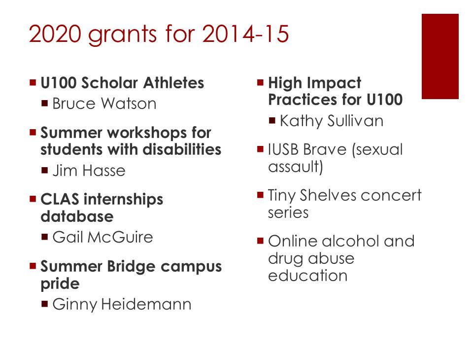 2020 grants for 2014-15  U100 Scholar Athletes  Bruce Watson  Summer workshops for students with disabilities  Jim Hasse  CLAS internships database  Gail McGuire  Summer Bridge campus pride  Ginny Heidemann  High Impact Practices for U100  Kathy Sullivan  IUSB Brave (sexual assault)  Tiny Shelves concert series  Online alcohol and drug abuse education