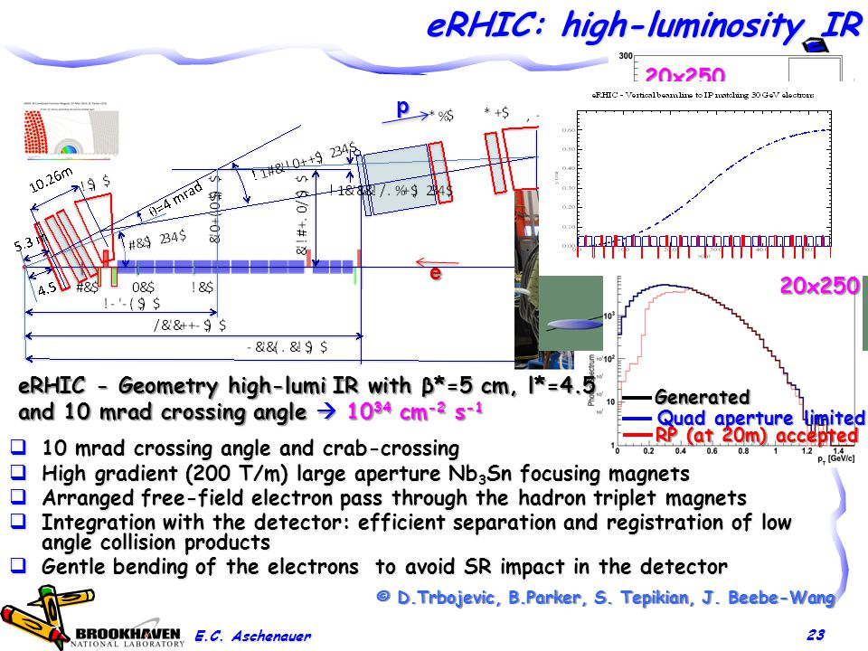 eRHIC: high-luminosity IR 23  10 mrad crossing angle and crab-crossing  High gradient (200 T/m) large aperture Nb 3 Sn focusing magnets  Arranged free-field electron pass through the hadron triplet magnets  Integration with the detector: efficient separation and registration of low angle collision products  Gentle bending of the electrons to avoid SR impact in the detector Proton beam lattice © D.Trbojevic, B.Parker, S.